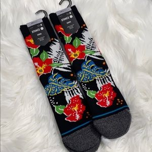 NWT Stance tropical flowers infiniknit casual sock